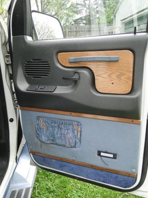 Conversion Van BEFORE Grungy Blue Fuzzy Upholstery With Pink And Pockets The Wood Panel Sticking