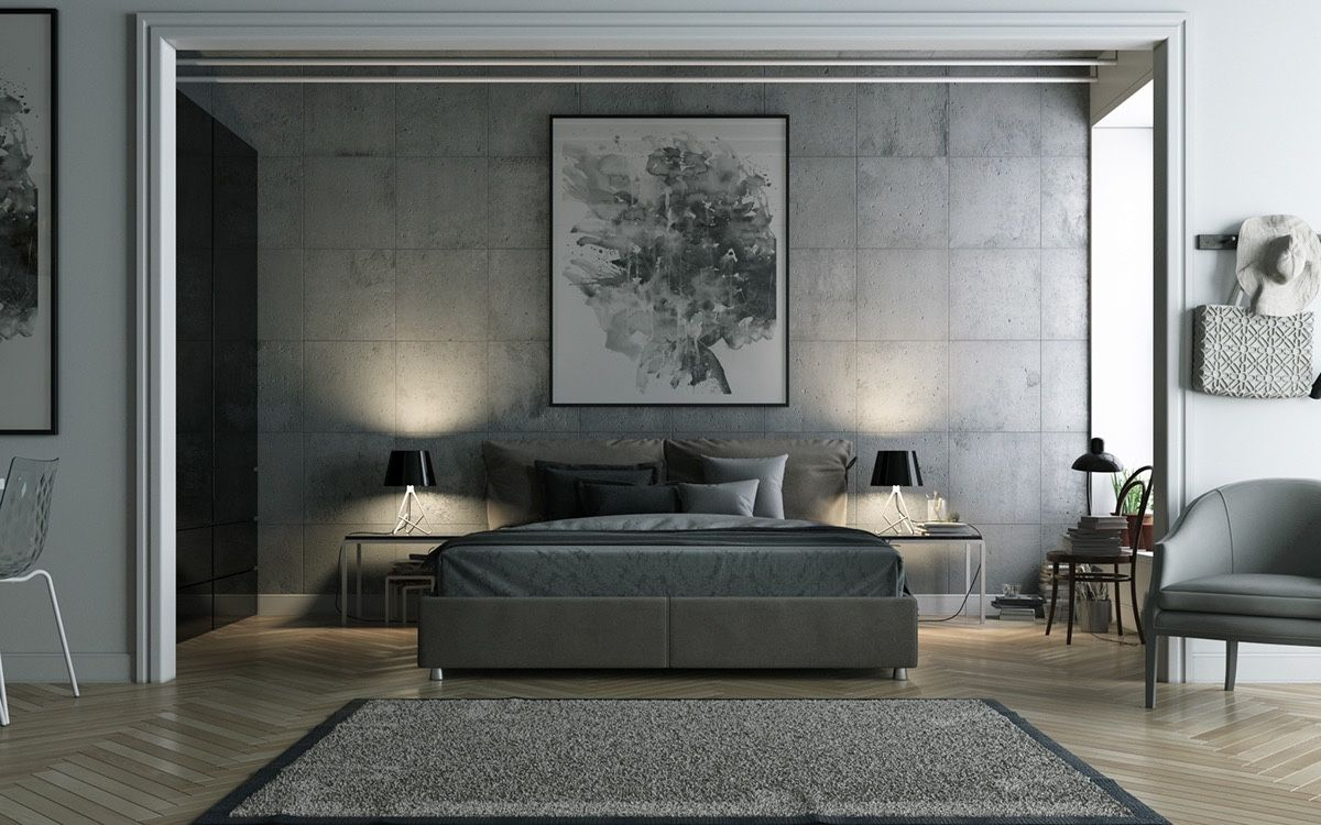 Bedroom grey bedding ideas abstract art painting with for Grey wallpaper bedroom