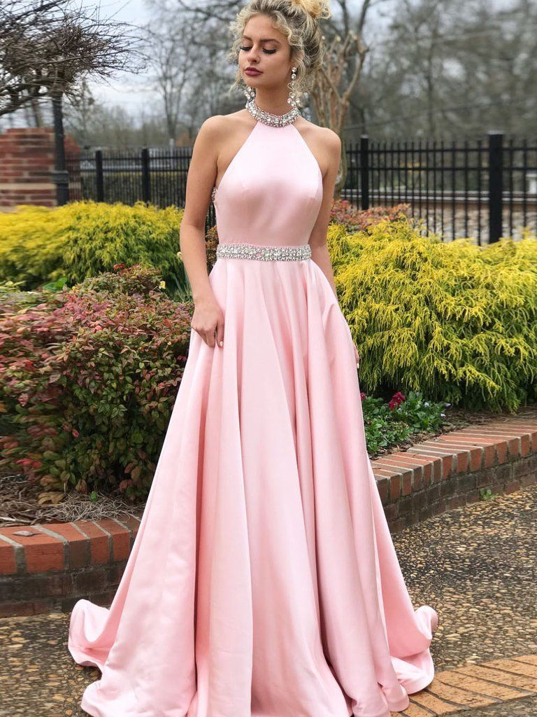 Simple aline prom dresses pink high neck cheap beading evening