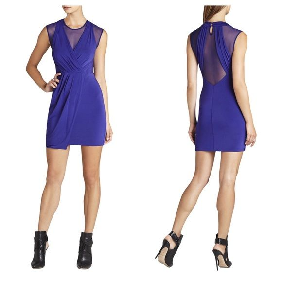 """BCBG """"Brenna"""" Dress Color: DregalBlue. Plunge V neckline w/mesh to show skin but not too much. Same with back. Very flattering. Draped detail in front. 2 buttons behind neck. Excellent condition. 79% polyester/21% spandex. [1st photo cred: bcbg.] BCBGMaxAzria Dresses"""