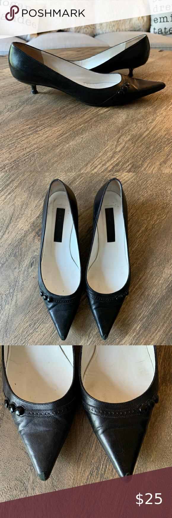 Marc Jacobs Pointed Toe Kitten Heel Black Sz 9 5 In 2020 Kitten Heels Black Heels Marc Jacobs Shoes
