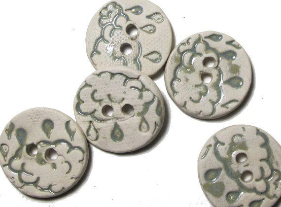 SALE Handmade Ceramic Stoneware Button  Powder by lindabelinda (Craft Supplies & Tools, Sewing & Needlecraft Supplies, Buttons & Fasteners, button, clay, stoneware, glaze, pottery, ceramics, yarn, blue, cloud, powder blue)
