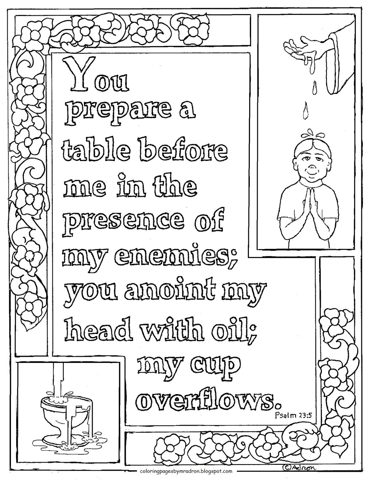 Printable Psalm 23 5 My Cup Overflows Coloring Page Bible