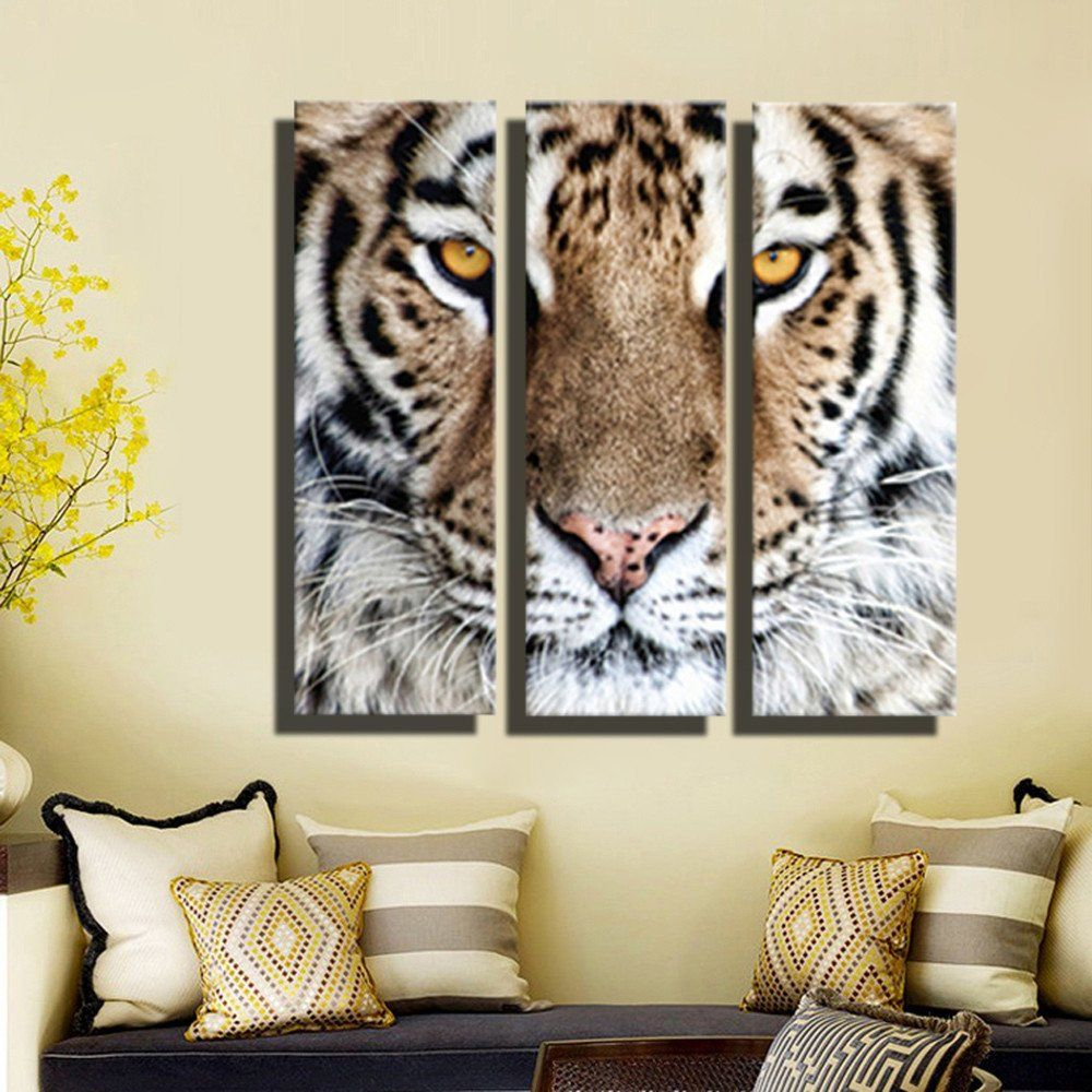 Hd Oil Painting Tiger Head Wall Art Home Decor Animal On Canvas Modern Wall Pictures For