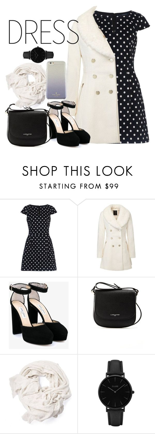 """Winter Chic"" by deepest-depths ❤ liked on Polyvore featuring French Connection, Jimmy Choo, Lancaster, CLUSE and Kate Spade"