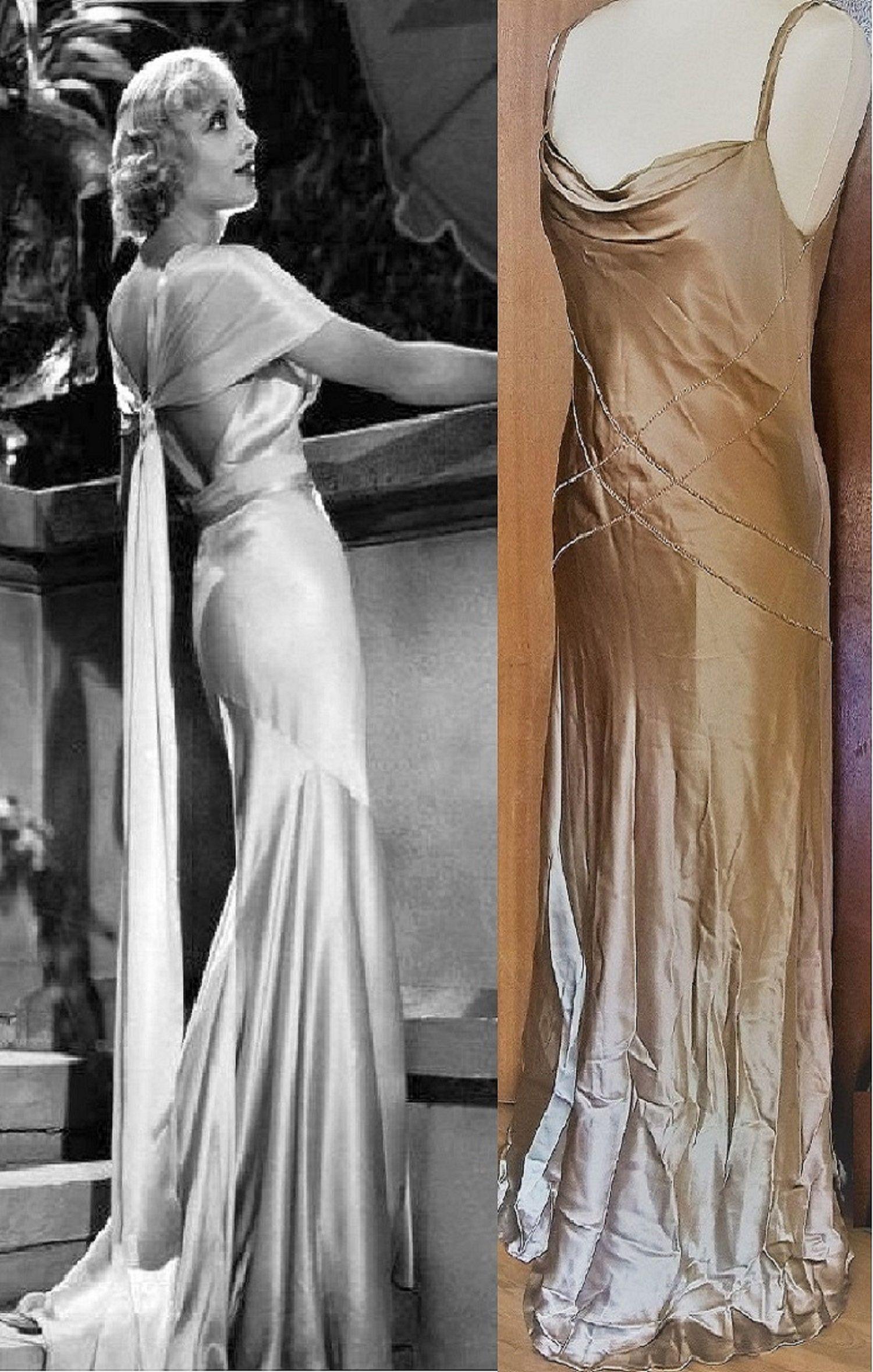Exquisite 1930 S Art Deco Style Silk Dress Vintage Gold Dress Cowl