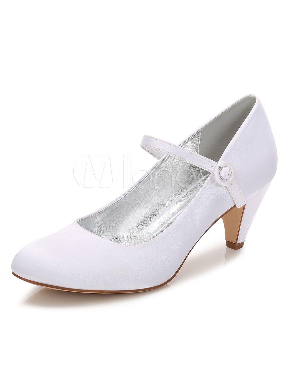 Women Wedding Shoes White Kitten Heels Round Toe Mary Jane Shoes ... 4ebf3acb0