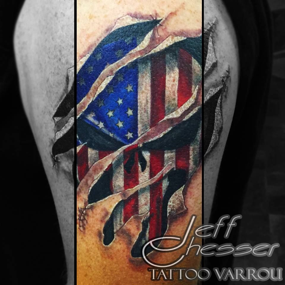 Punisher american flag torn skin tattoo tattoos by me for Torn skin skull tattoo