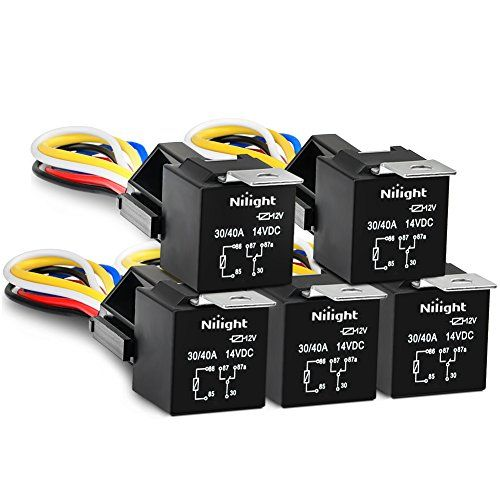 Nilight Automotive Relay Harness Set 5 Pin 30 40a 12v Spdt With Interlocking Relay Socket And Wiring Harness 5 Pack 2 Years Warranty Automotive Relay Ebay