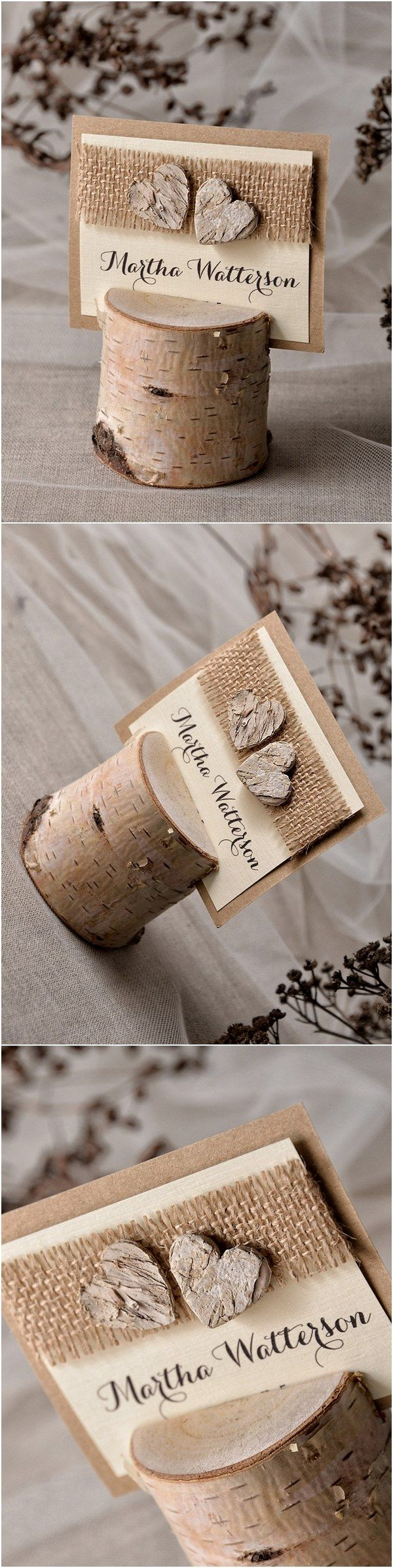 Rustic country burlap and birch real wood wedding place cards #countrywedding #rusticwedding #dpf