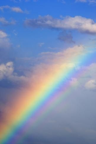 Photographic Print: Rainbow with Blue Sky and Clouds by Wesley Hitt : 24x16in