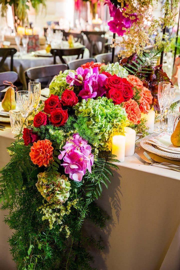 Australia Wedding Radiates Vibrant Florals Table Scapes