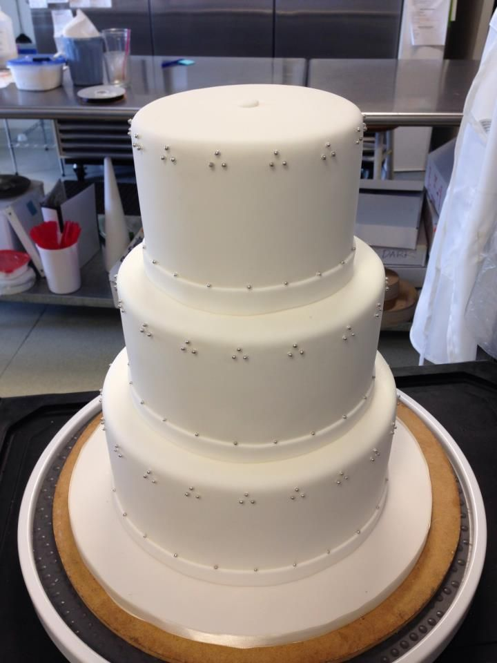Three Tier White Fondant Cake With Silver Dragee Swiss Dots
