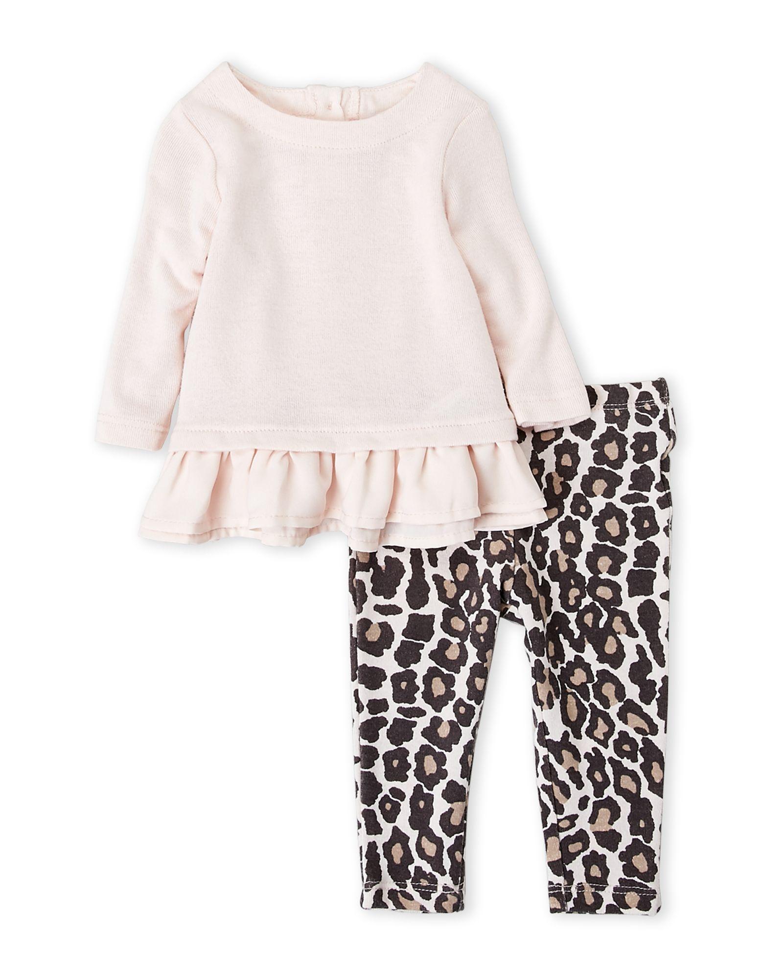 54108fc09a65c Splendid (Newborn/Infant Girls) Two-Piece Peplum Top & Leopard Leggings Set