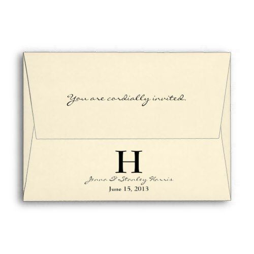 A6 Cream Black Monogram Wedding Envelopes