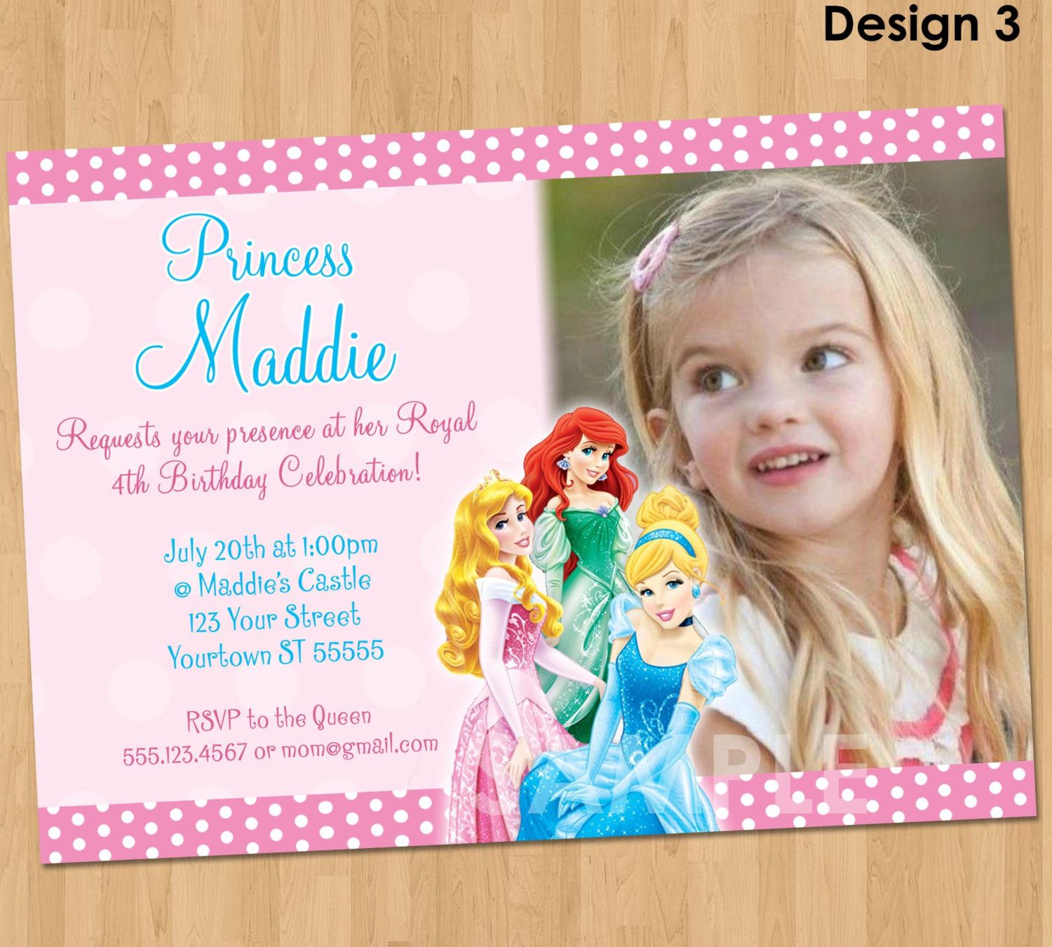 Disney Princess Invitation Disney Princess Party Invitation – Personalized Disney Birthday Invitations