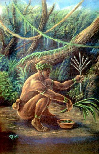Ossaim, orixá das Folhas sagradas, conhece o segredo de todas elas. Junto com Oxóssi, protege as matas e os animais. Mitologia africana.