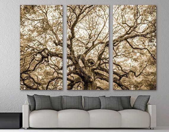 Angel Oak Tree Canvas Print Wall Art Brown Beige Color Etsy Brown Wall Art Tree Canvas Canvas Print Wall