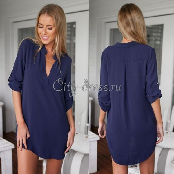 e262a793a12 стильная темно-синяя блузка с V вырезом - Блузки - City-Dress.ru ...
