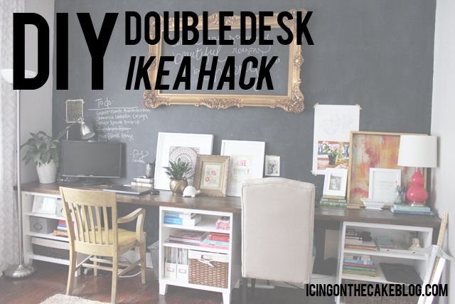 Diy 12 Foot Long Double Desk Double Desk Home Decor Hacks Home Office Furniture
