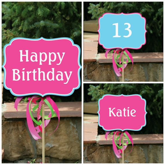 photograph regarding Printable Yard Signs titled 3 Customized Printable Joyful Birthday Garden Signs and symptoms, Status