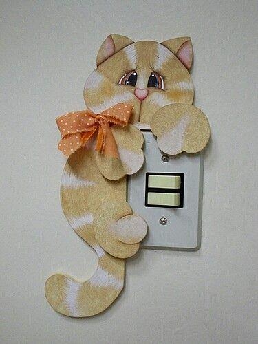 Modelo de gatito para apagador de luz con foamy - Modelos de interruptores de luz ...