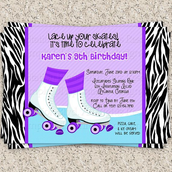 Announce your party in style with this cute modern roller skating