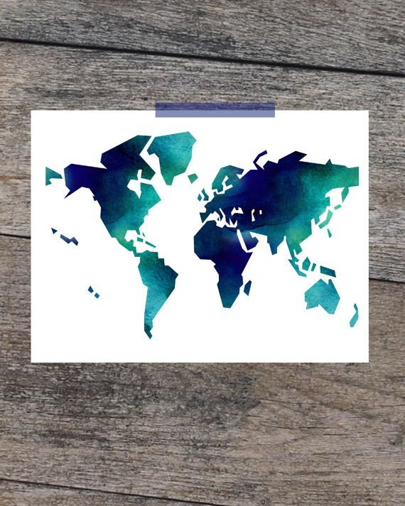 24x36 world map poster printable art watercolor world map map of 24x36 world map poster printable art watercolor world map map of world blue wall art gumiabroncs Images