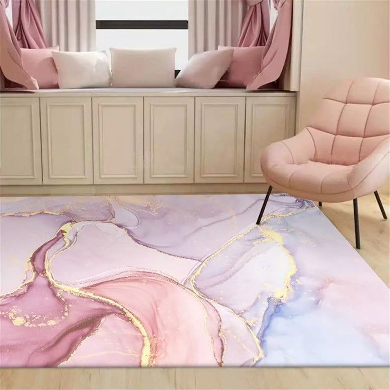 Wishstar Pink Gold Oil Painting Abstract Carpet Gi