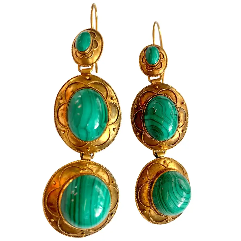 1stdibs – Etruscan Revival 15 Karat Pierced Victorian Malachite 15K Gold, Yellow Gold