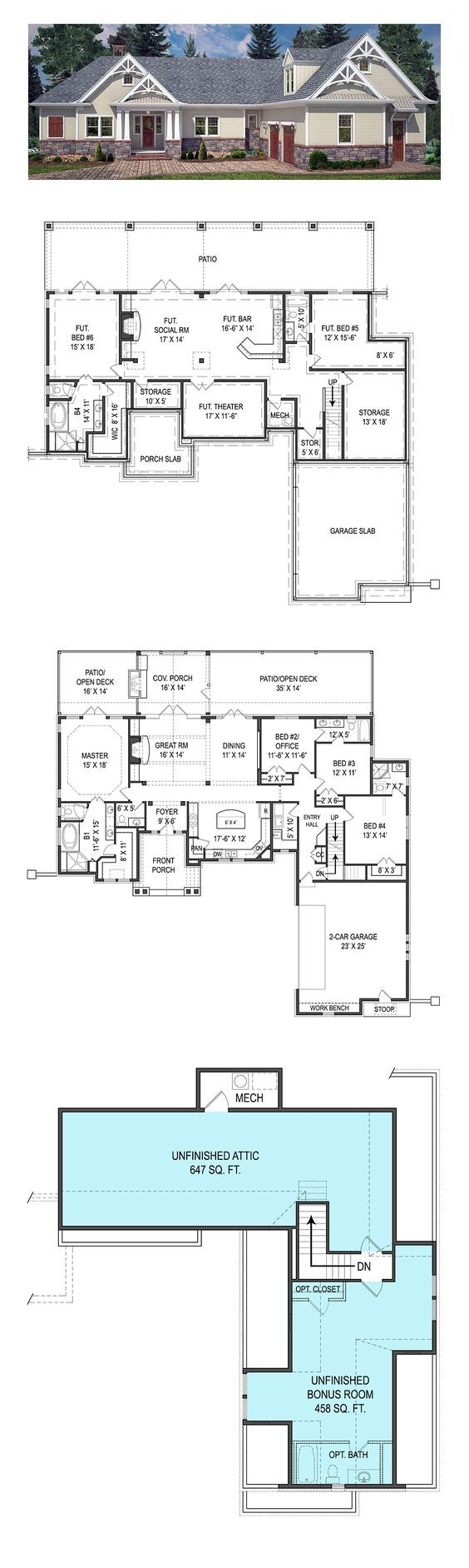 Traditional Style House Plan 72220 With 4 Bed 4 Bath 2 Car Garage Retirement House Plans House Plans House Layouts