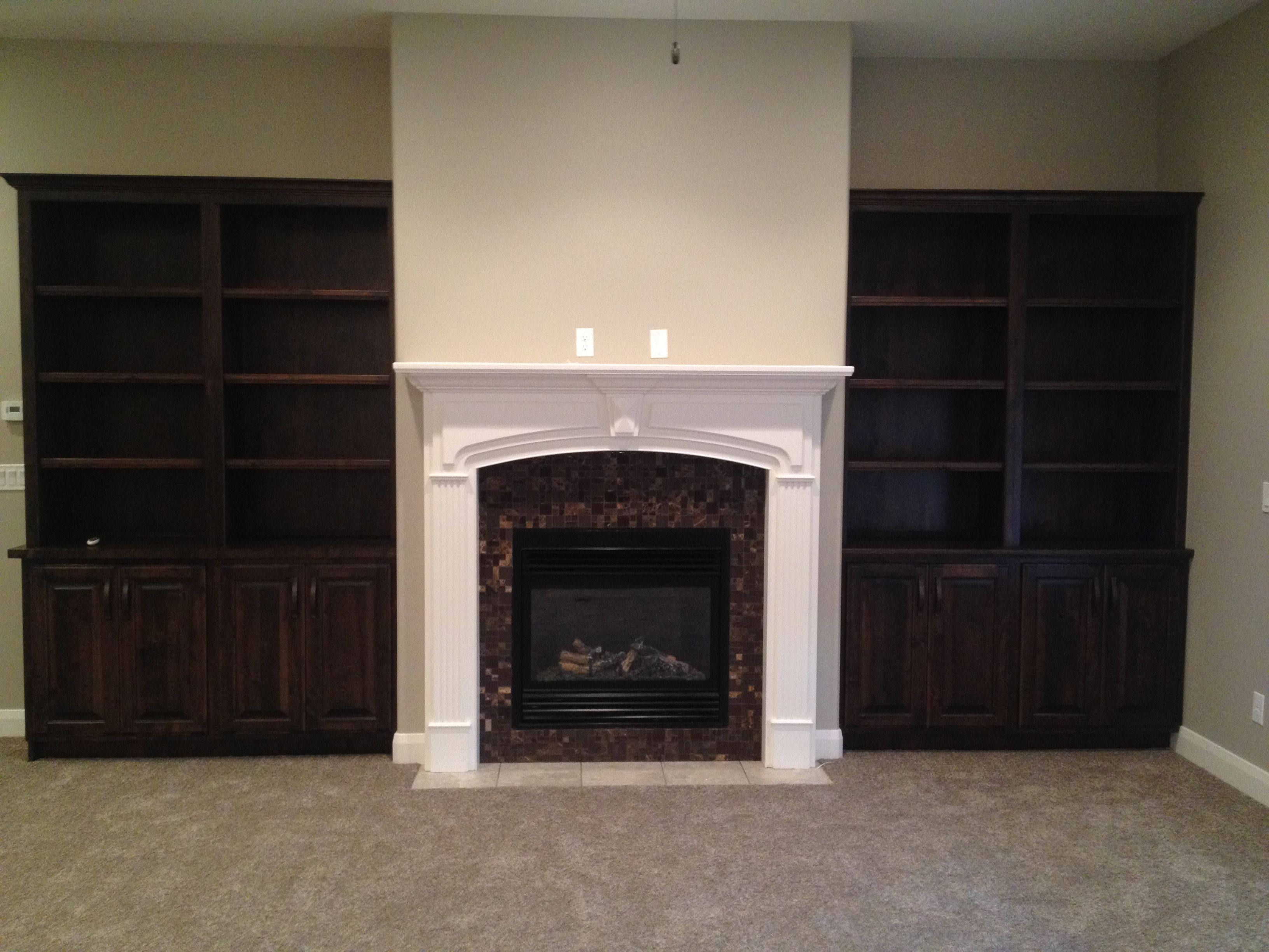 Alpine Mantel  Paint Grade  With Wall To Wall Base Cabinets
