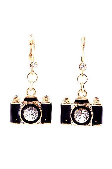 Black Camera-Shaped Gold Metal Earrings