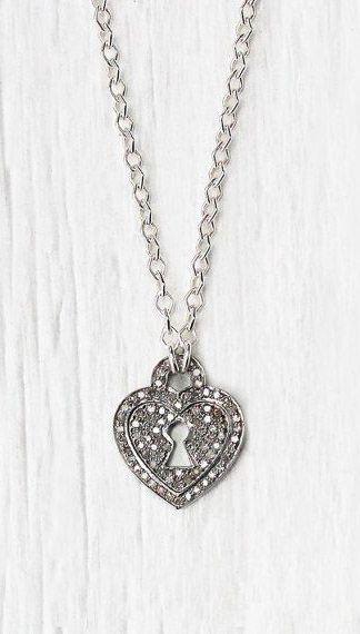 CIJ SALE Diamond Heart Charm Necklace Sterling Silver