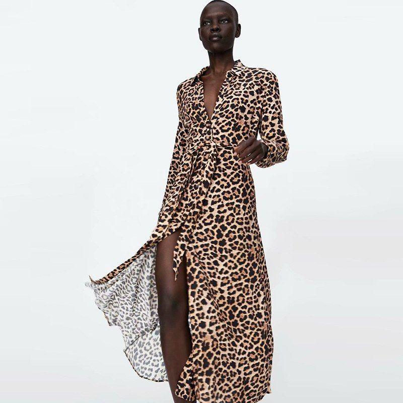 Autumn Vintage Animal Leopard Print Dresses Women Bow Tied Sashes Shirt  Dresses Female Elegant Split Chic Midi Dress 2018 beafc92f3