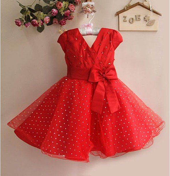 New Year Girl Dress Red Children Princess Party Dress With Bow ...