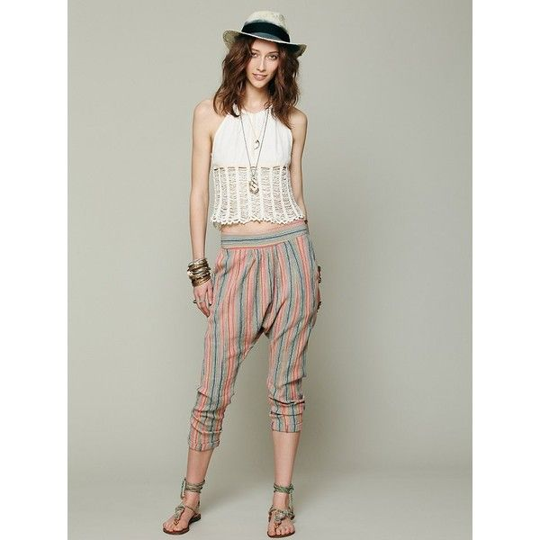 Free People NSF Shada Gauze Harem ($30) found on Polyvore featuring pants, striped gauze, free people pants, cuff pants, stripe pants, relaxed fit pants and tapered pants