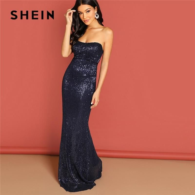 af6178c0815a1 Navy Elegant Sequin Mesh Strapless Bodycon Evening Gown High Waist ...