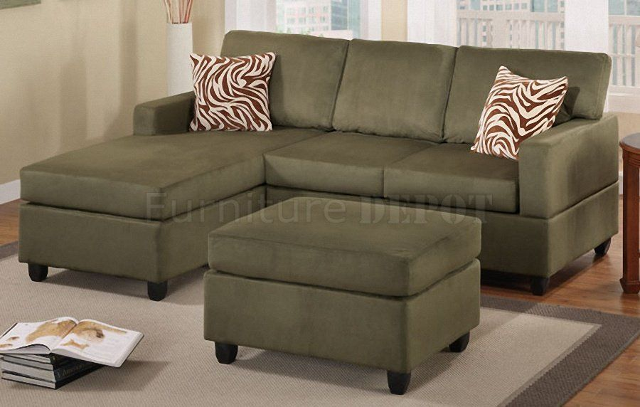 Incredible Green Small Sectional Sofa Made From Fabric Material