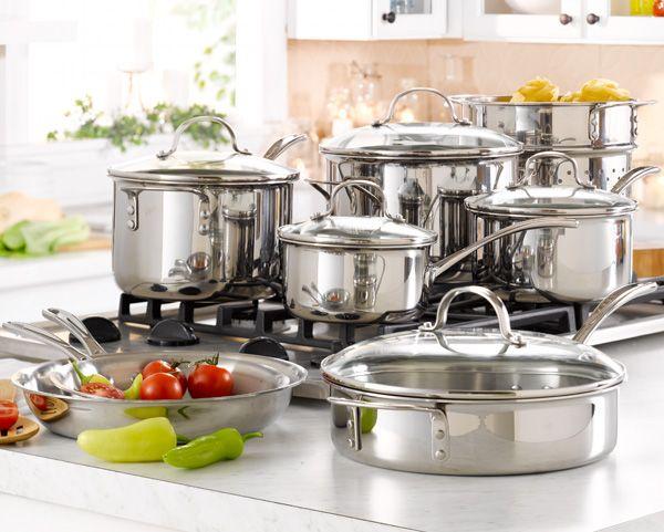 Calphalon Tri Ply Stainless Steel 13 Pc Cookware Set Belk Com