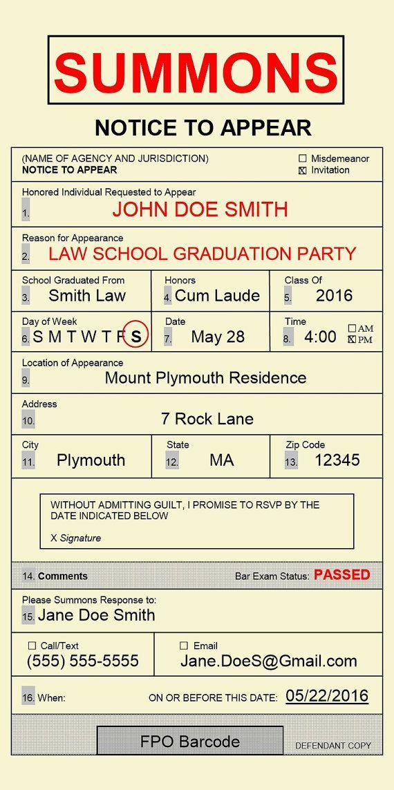 Law School Graduation Invitation, Printable Envelopes and Grad parties - fresh invitation wording for trunk party