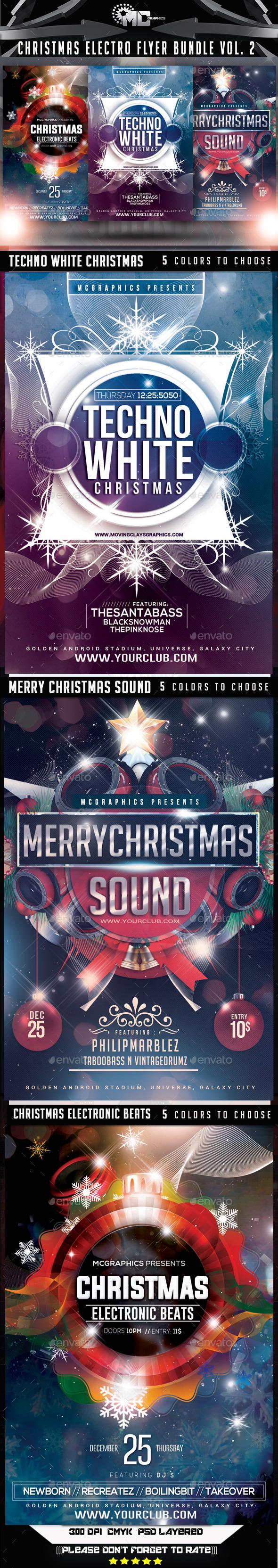Christmas Electro Flyer Bundle Vol   Electro Music Christmas