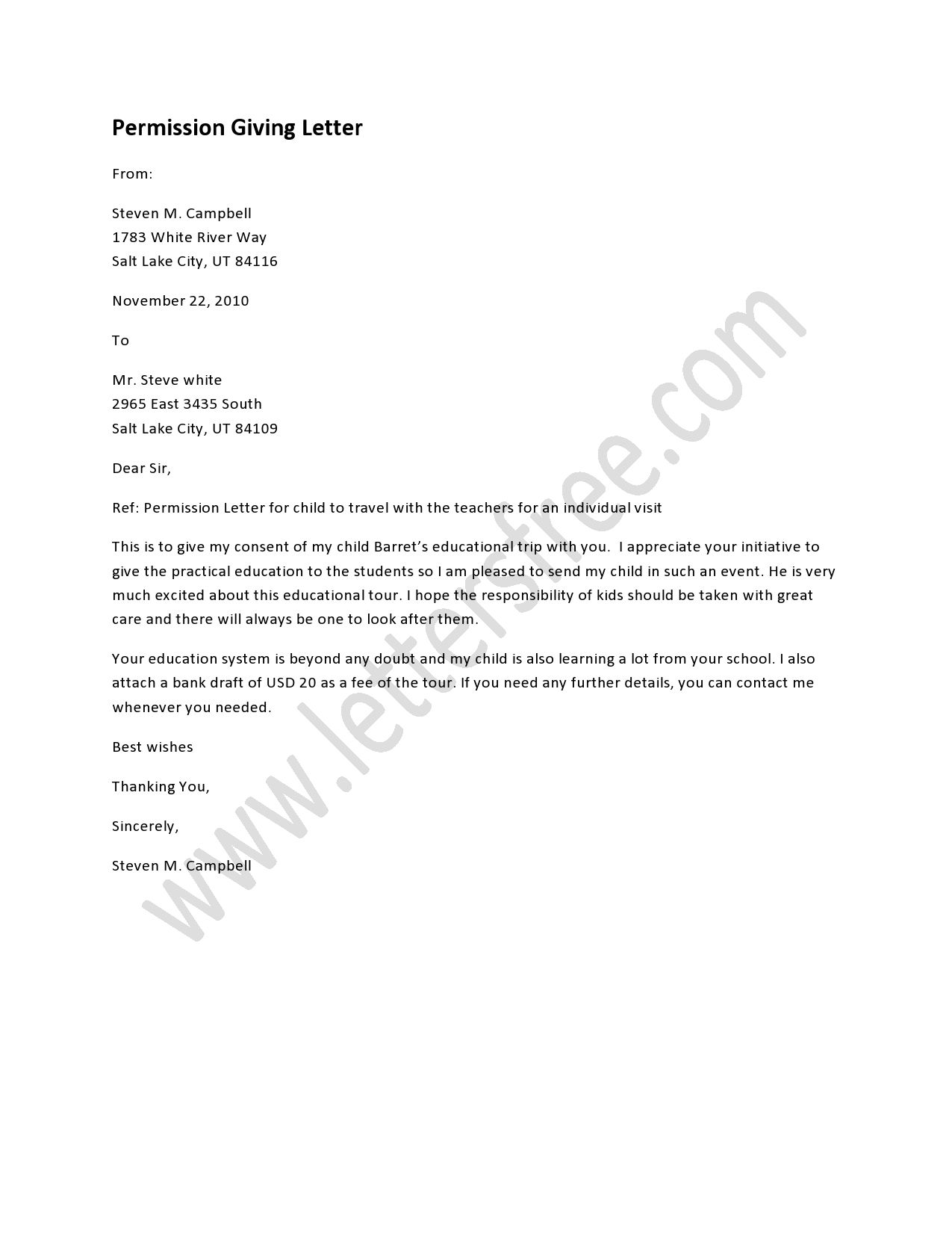 Permission Giving Letter