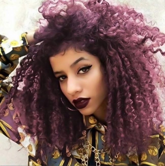 curly red violet sombre hair