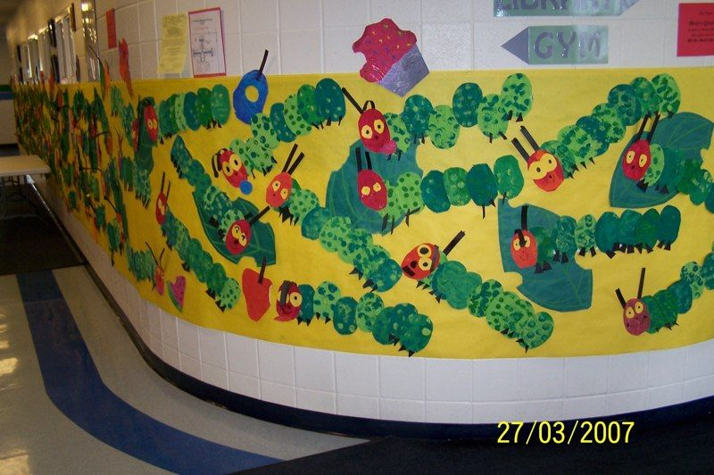 Cute Eric Carle wall art So wish we could do this at our school ...
