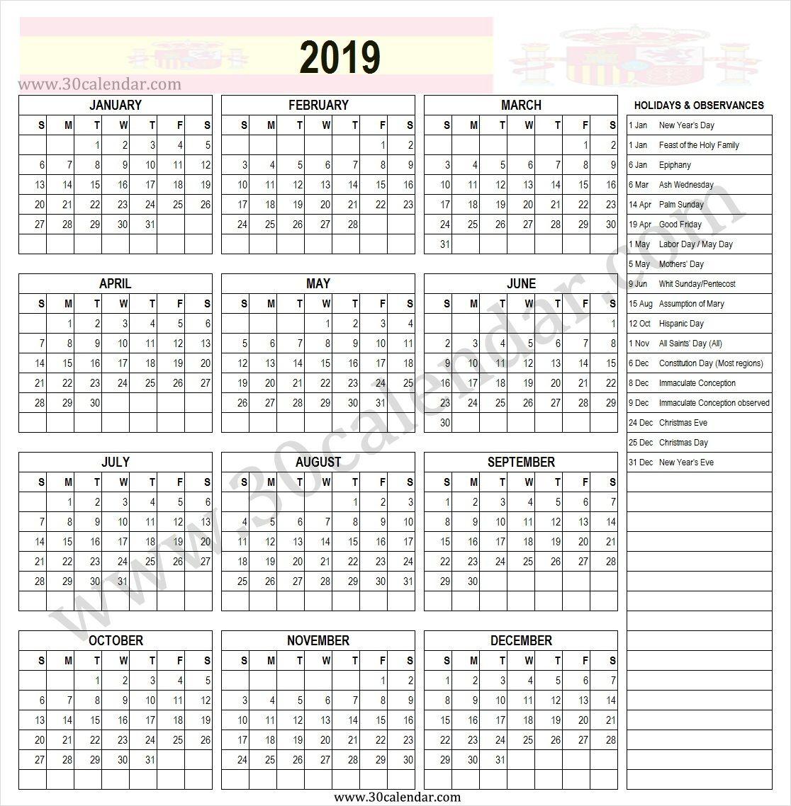 Spain 2019 Holidays Printable Calendar Template Holiday