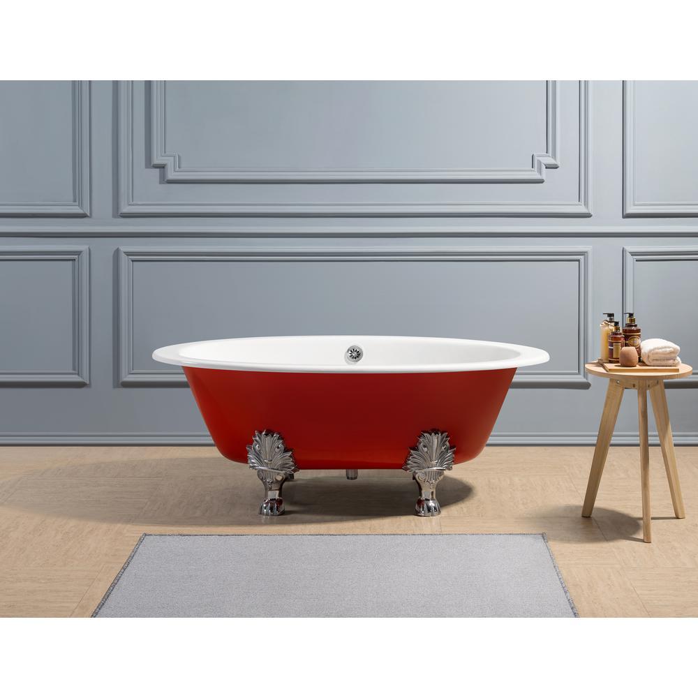 Streamline 65 In Cast Iron Clawfoot Non Whirlpool Bathtub In Glossy Red Products Whirlpool Bathtub Bathtub Soaking Bathtubs