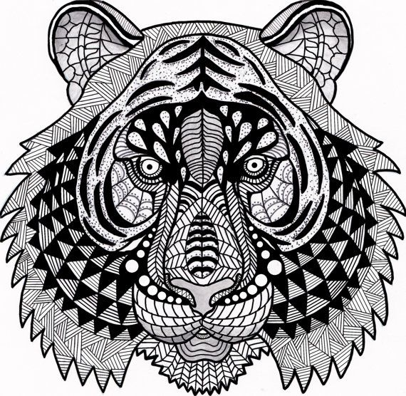 Tiger Zentangle Coloring Page Digital By Inspirationbyvicki Ink