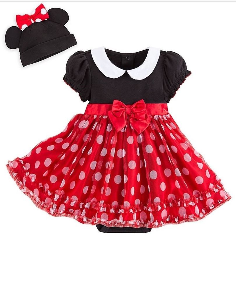 c5948ec9a Disney Store Mickey Mouse Baby Polka Dot Halloween Dress Hat Bow Red 9-12  month #DisneyStore #Party