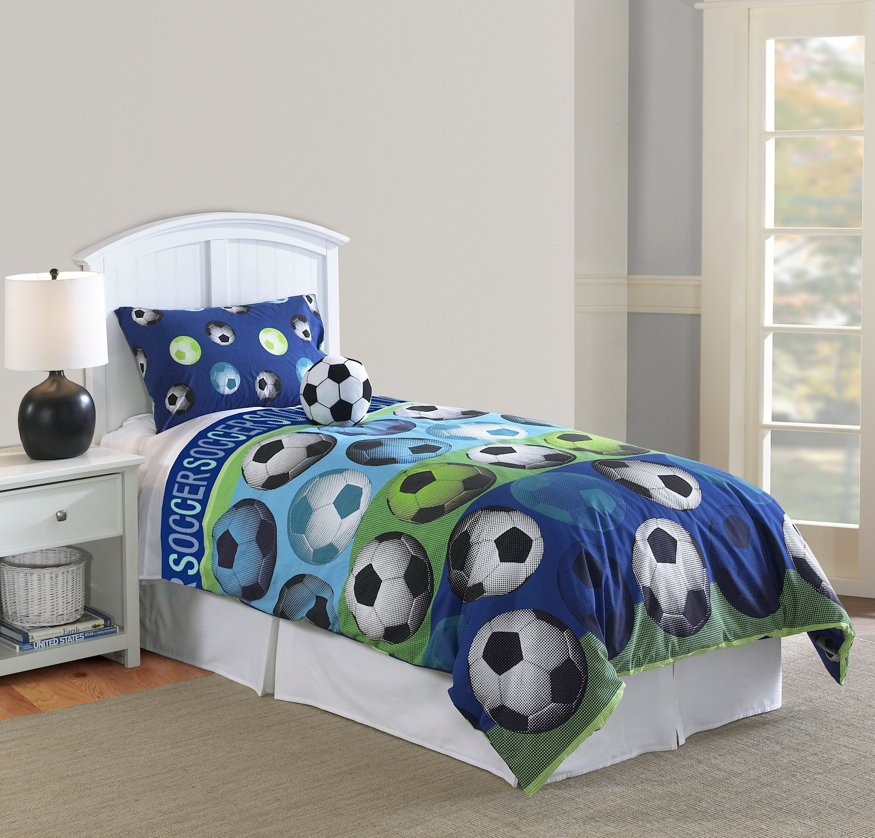 Soccer Bedroom Blue Green Soccer Ball Bedding Twin Full Queen Comforter Set With